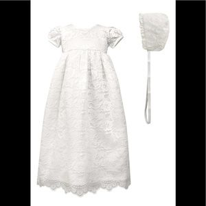 Scalloped Lace Christening Dress and Bonnet